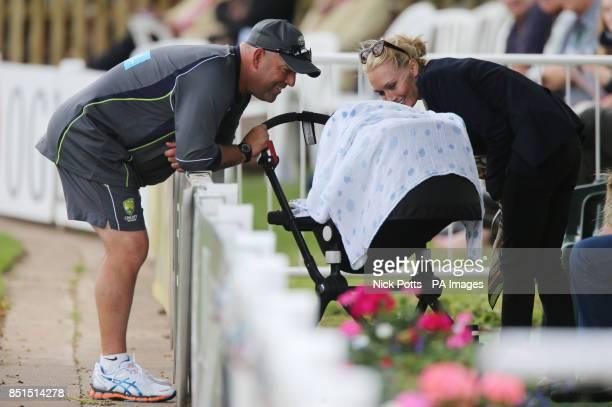 Australia coach Darren Lehmann and Lee Furlong wife of Australia batsman Shane Watson during day three of the International Warm up match at New Road...