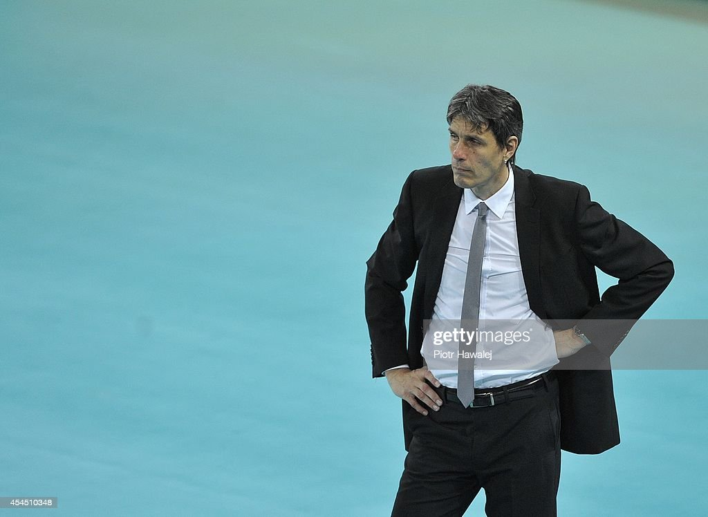 Australia coach Jon Emili Uriarte reacts during the FIVB World Championships match between Australia and Poland on September 2, 2014 in Wroclaw, Poland.
