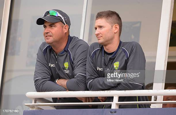 Australia coach Mickey Arthur and test captain Michael Clarke look on during the ICC Champions Trophy Group A fixture between Sri Lanka and Australia...
