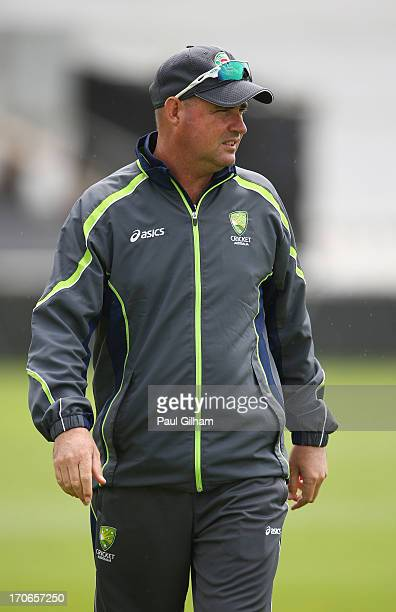 Australia coach Mickey Arthur looks on during an Australia Nets Session ahead of the ICC Champions Trophy Group A match between Australia and Sri...