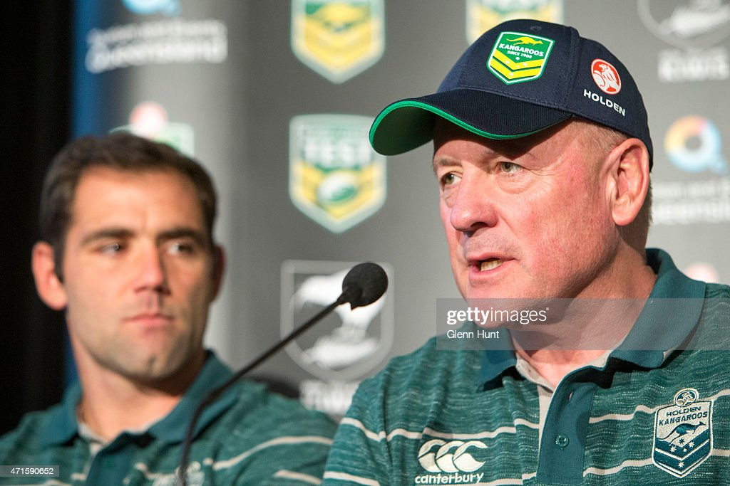Australia coach Tim Sheens and captain Cameron Smith speak to the media ahead of the international Test match during a press conference at Suncorp Stadium on April 30, 2015 in Brisbane, Australia.