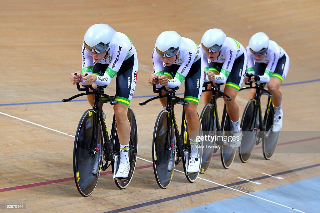 Australia compete in the Women's Team Pursuit Final during day two of the UCI Track Cycling World Championships at the National Velodrome on February 19, 2015 in Paris, France.