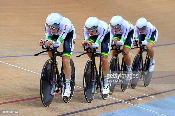 Australia compete in the Women's Team Pursuit Final during day two of the UCI Track Cycling World Championships at the National Velodrome on February...