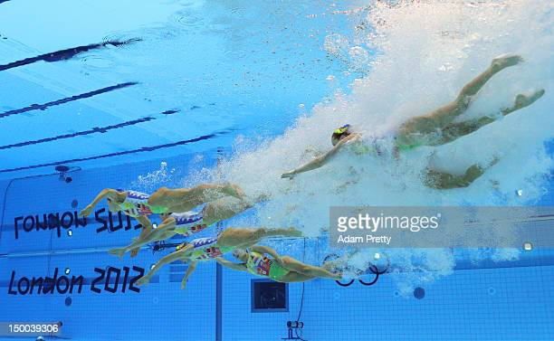 Australia compete in the Women's Teams Synchronised Swimming Technical Routine on Day 13 of the London 2012 Olympic Games at the Aquatics Centre on...