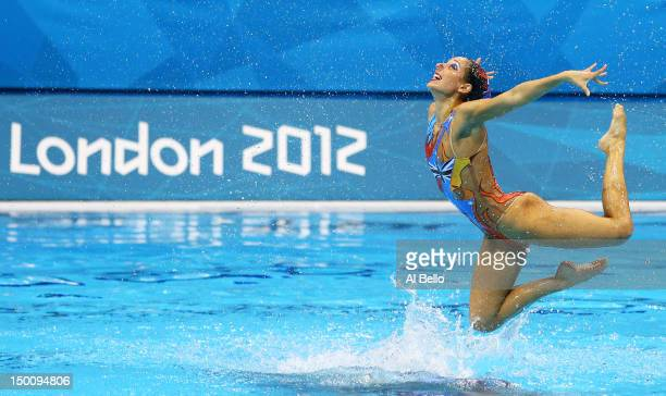 Australia competes in the Women's Teams Synchronised Swimming Free Routine final on Day 14 of the London 2012 Olympic Games at the Aquatics Centre on...