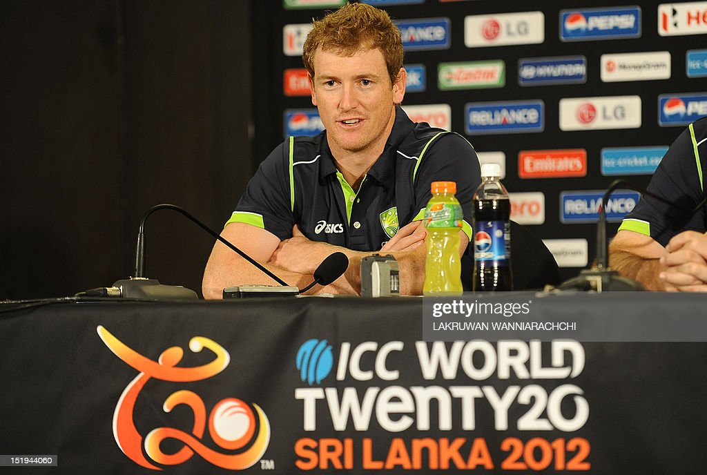 Australia cricket captain George Bailey addresses a press conference ahead of the ICC Twenty20 Cricket World Cup in Colombo on September 13, 2012. The two-yearly tournament in cricket's shortest format will be played from September 18 to October 7, with Hambantota holding three matches, Pallekele nine and capital Colombo fifteen.