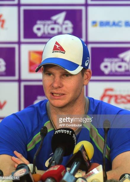 Australia cricket captain Steven Smith takes part in a press conference at the ShereBangla National Cricket Stadium in Dhaka on August 19 2017...