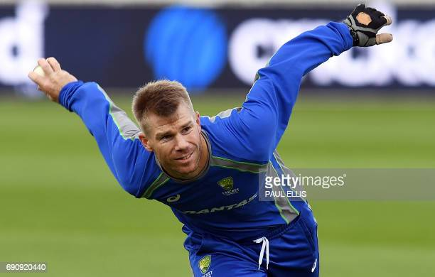Australia cricketer David Warner takes part in a training session at Edgbaston cricket ground in Birmingham on May 31 ahead of their forthcoming ICC...
