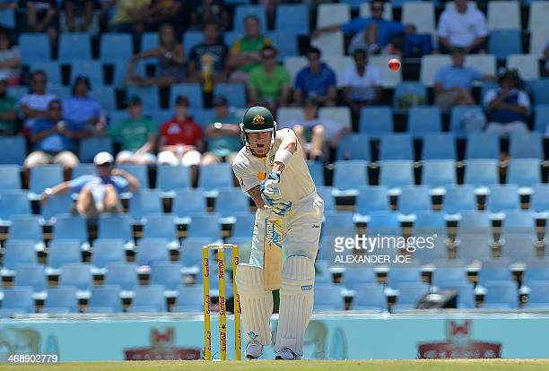 Australia cricketer Michael Clarke plays a shot on the first day of the test match between South Africa and Australia at SuperSport Park in Centurion...