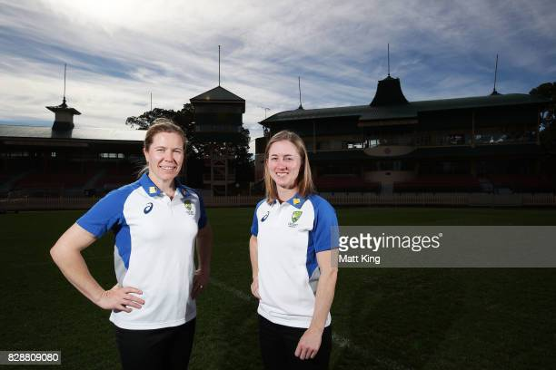 Australia cricketers Alex Blackwell and Rachael Haynes pose during the Cricket Australia Women's Ashes series ticket sale announcement at North...