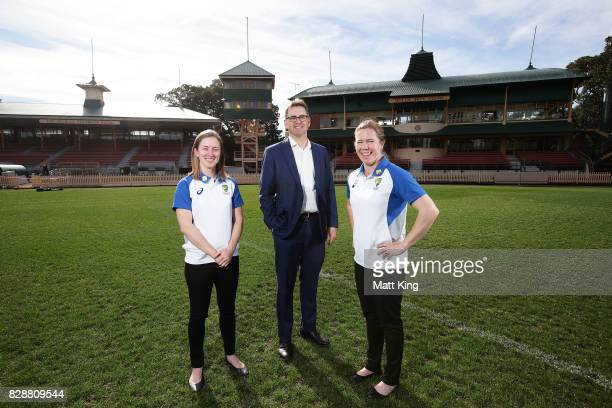 Australia cricketers Rachael Haynes and Alex Blackwell pose with Crcket NSW CEO Andrew Jones during the Cricket Australia Women's Ashes series ticket...