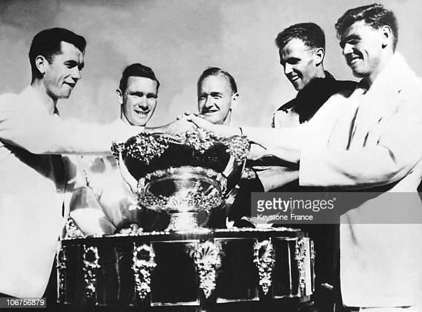 Australia Davis Cup Melvin Rose Ian Eyre Harry Hopman Ken Mcgregor And Frank Sedgman In The 1930'S