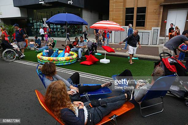 Australia Day celebrations on Sydney Harbour foreshore Crowds enjoy the day on at The Rocks and outside the Museum of Contemporary Art Sydney...
