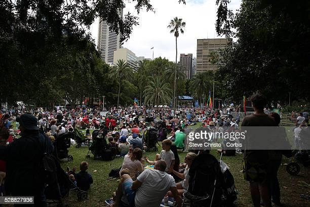 Australia Day celebrations on Sydney Harbour foreshore Crowds enjoy the day at Hyde Park Sydney Australia Sunday 26th January 2014