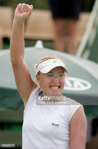 Elena Baltacha of Great Britain celebrates her victory over Stephanie CohenAloro of France in their women's singles second round match at the 2005...