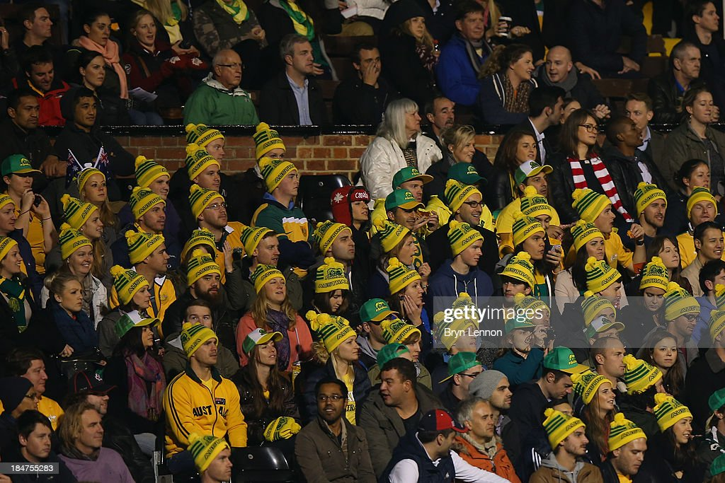 Australia fans attend the International Friendly between Canada and Australia at Craven Cottage on October 15, 2013 in London, England.