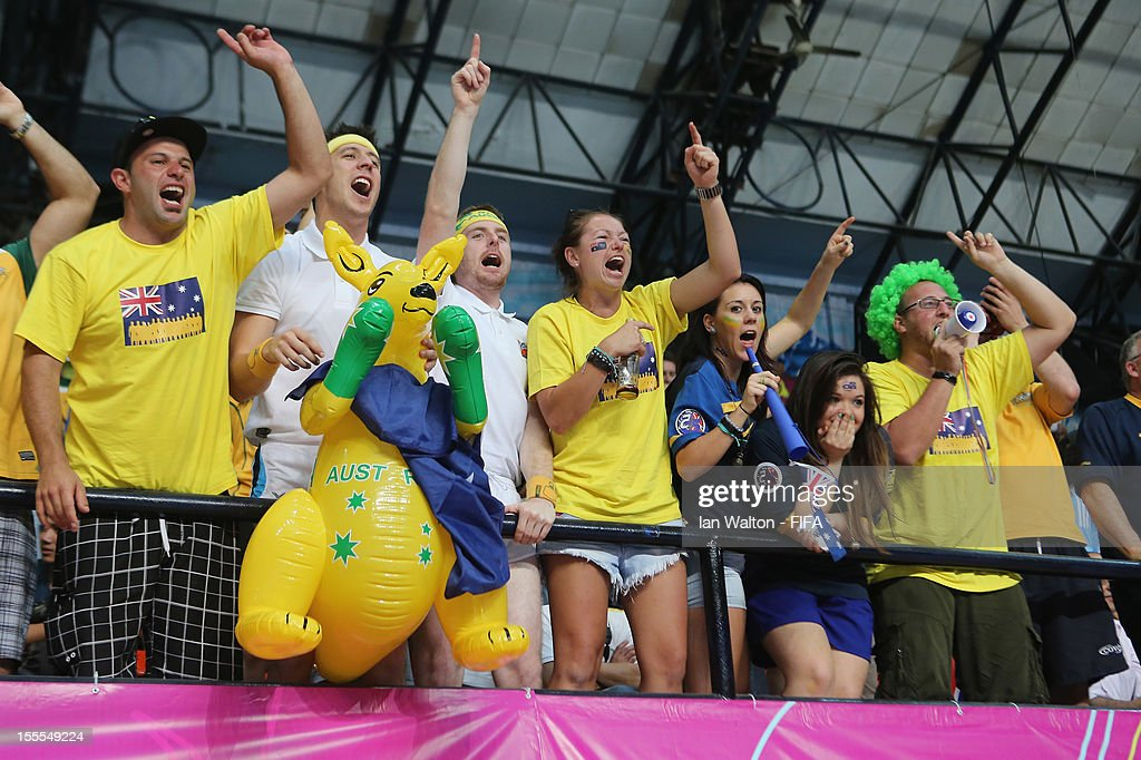 Australia fans celebrate their team's victory in the FIFA Futsal World Cup Thailand 2012, Group D match between Australia and Mexico at Nimibutr Stadium on November 5, 2012 in Bangkok, Thailand.
