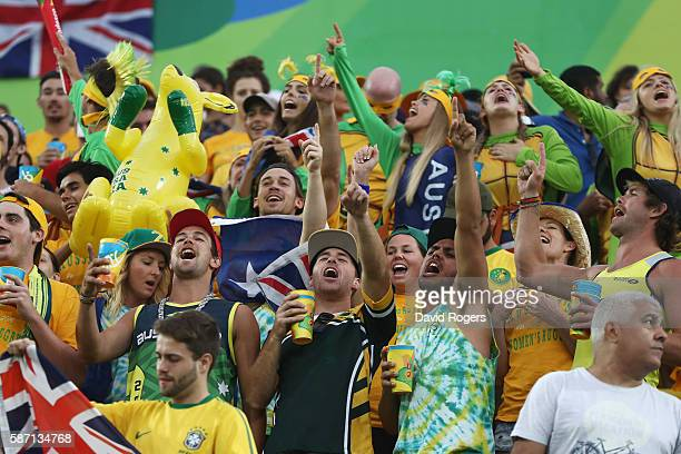 Australia fans cheer during rugby match between Australia and Spain on Day 2 of the Rio 2016 Olympic Games at Deodoro Stadium on August 7 2016 in Rio...