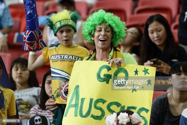 Australia fans cheer during the 2017 Singapore Sevens at National Stadium on April 16 2017 in Singapore
