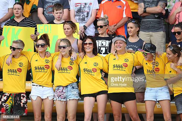 Australia fans cheer during the Women's International Friendly match between the Australian Matildas and Brazil at Queensland Sport and Athletics...