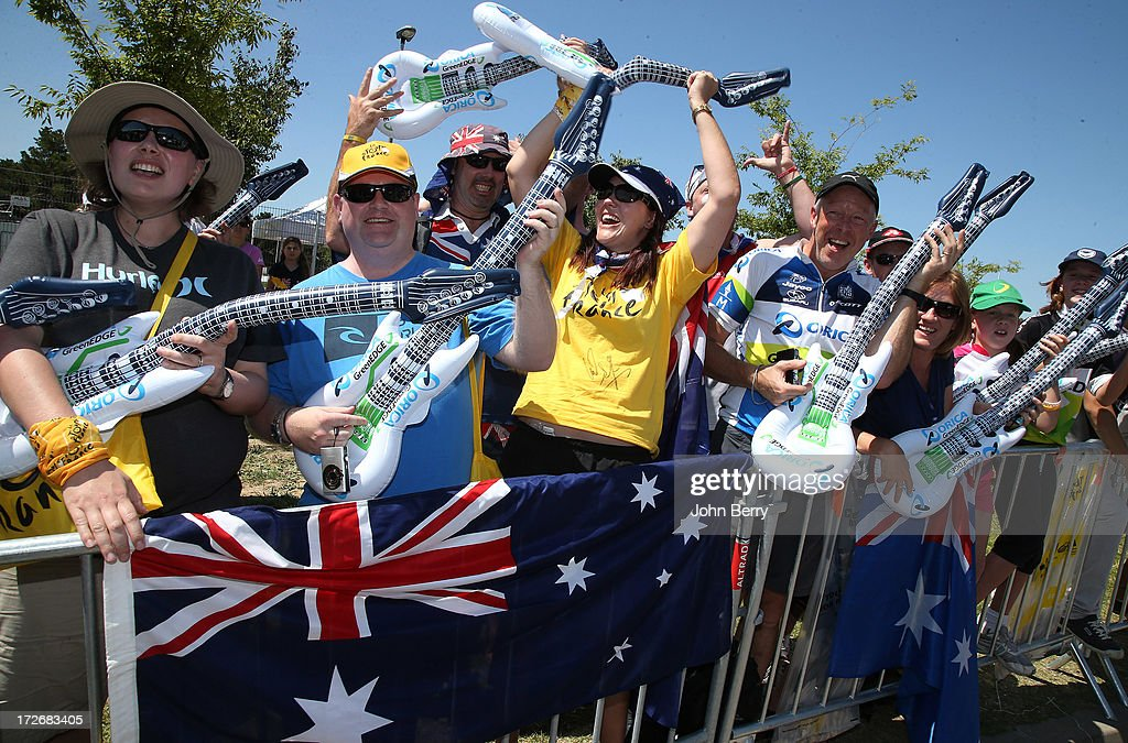 Australia fans gather outside the Orica Greenedge bus prior to Stage Six during the Tour de France 2013, the 100th Tour de France, a 176,5KM road stage between Aix-en-Provence and Montpellier on July 4, 2013 in Aix-en-Provence, France.