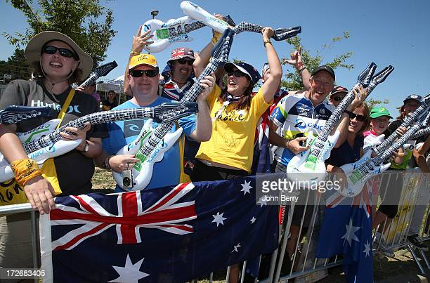 Australia fans gather outside the Orica Greenedge bus prior to Stage Six during the Tour de France 2013 the 100th Tour de France a 1765KM road stage...