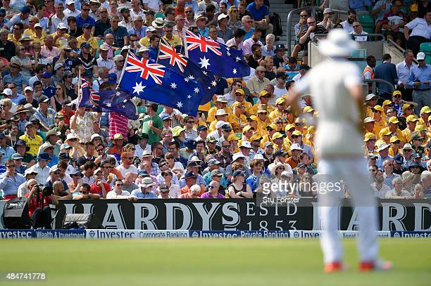 Australia fans get a rare chance to wave their flags during day two of the 5th Investec Ashes Test match between England and Australia at The Kia...