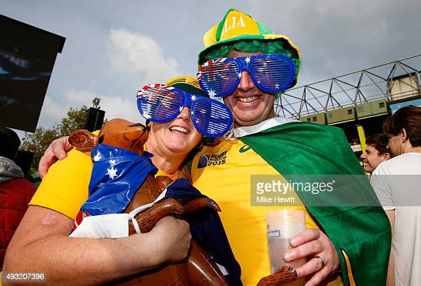 Australia fans pose prior to the 2015 Rugby World Cup Quarter Final match between Australia and Scotland at Twickenham Stadium on October 18 2015 in...