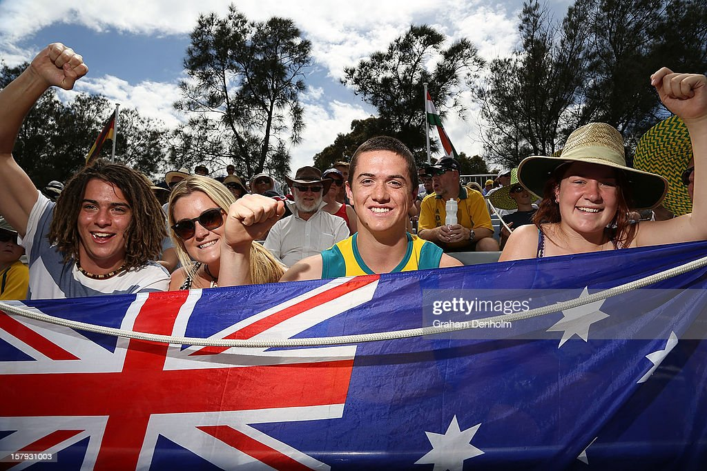 Australia fans show their support during day five of the 2012 Champions Trophy at the State Netball and Hockey Centre on December 8, 2012 in Melbourne, Australia.