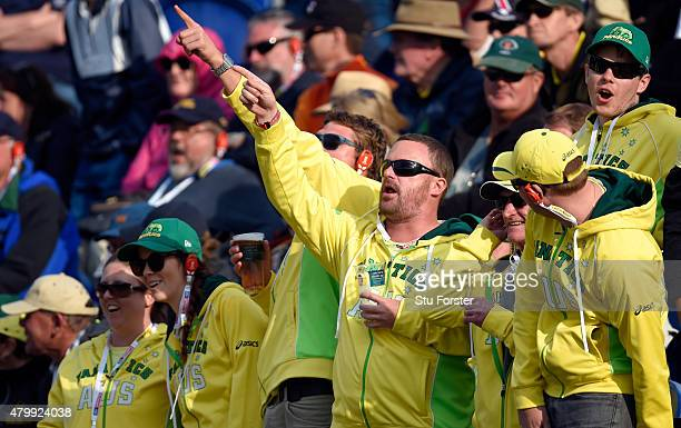 Australia fans taunt Stuart Broad during day one of the 1st Investec Ashes Test match between England and Australia at SWALEC Stadium on July 8 2015...