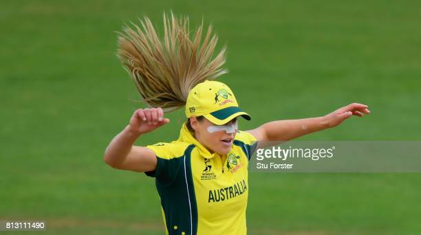 Australia fielder Ellyse Perry celebrates after her side had dismissed India batsman Smrti Mandhana during the ICC Women's World Cup 2017 match...