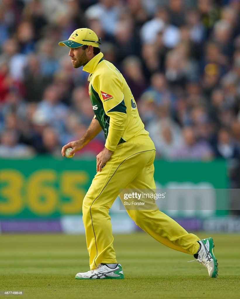 Australia fielder Glenn Maxwell reacts after catching Eoin Morgan during the 4th Royal London OneDay International match between England and...