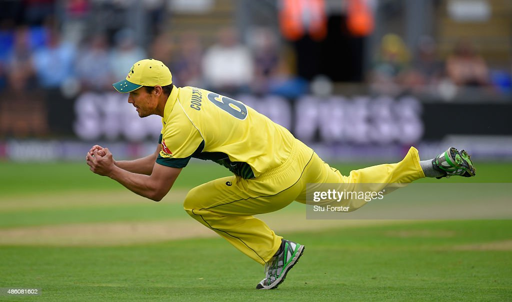 Australia fielder Nathan CoulterNile catches out Jason Roy during the NatWest T20 International match between England and Australia at SWALEC Stadium...