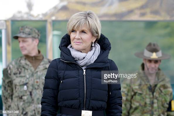 Australia Foreign Minister Julie Bishop look North Korea at border village Panmunjom in Paju South Korea on February 18 2017