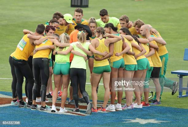 Australia form a team huddle during the 2017 Nitro Athletics Series at Lakeside Stadium on February 9 2017 in Melbourne Australia