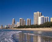 Australia, Gold Coast, Surfers Paradise Beach and Skyline