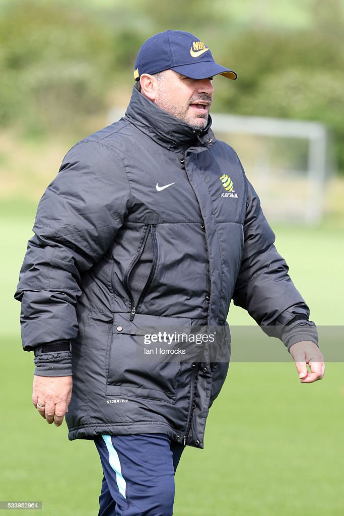 Australia head coach Angelo Postecoglou during a Australia National football team training session at The Academy of Light on May 24, 2016 in Sunderland, England.