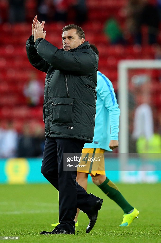 Australia head coach Angelos Postecoglou applauds fans following the International Friendly match between England and Australia at Stadium of Light on May 27, 2016 in Sunderland, England.
