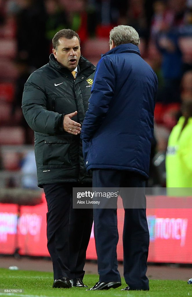 Australia head coach Angelos Postecoglou shakes the hand of England manager <a gi-track='captionPersonalityLinkClicked' href=/galleries/search?phrase=Roy+Hodgson&family=editorial&specificpeople=881703 ng-click='$event.stopPropagation()'>Roy Hodgson</a> following the International Friendly match between England and Australia at Stadium of Light on May 27, 2016 in Sunderland, England.