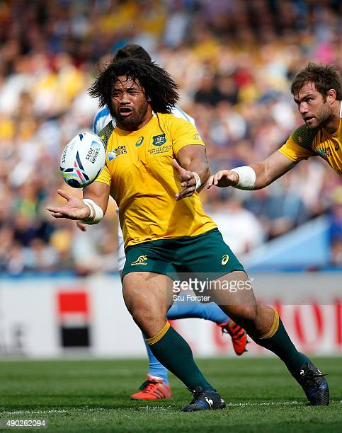 Australia hooker Tatafu Polota Nau in action during the 2015 Rugby World Cup Pool A match between Australia and Uruguay at Villa Park on September 27...