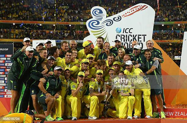 Australia lift the World Cup during the 2015 ICC Cricket World Cup final match between Australia and New Zealand at Melbourne Cricket Ground on March...