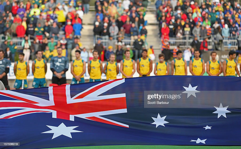 Australia line up for the national anthems before the match between Australia and Pakistan during day three of the Champions Trophy at the State Netball Hockey Centre on December 4, 2012 in Melbourne, Australia.