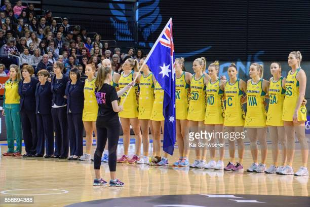 Australia line up for their national anthem prior to the 2017 Constellation Cup match between Australia Diamonds and the New Zealand Silver Ferns at...