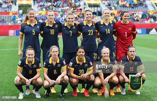 Australia line up prior to the FIFA Women's World Cup 2015 round of 16 match between Brazil and Australia at Moncton Stadium on June 21 2015 in...