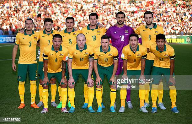Australia line up prior to the start of the 2018 FIFA World Cup Qualifier match between the Australian Socceroos and Tajikistan at Central Republican...