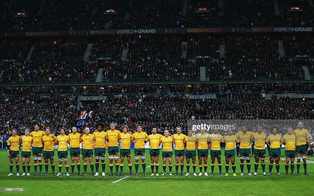 Australia line-up for the National Anthem prior to the Autumn International match between France and Australia at Stade de France on November 10, 2012 in Paris, France.