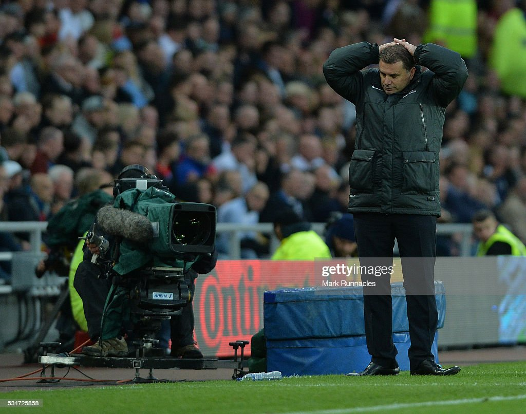 Australia manager Ange Postecoglou reacts after his side miss an opportunity to level the score during the International Friendly match between England and Australia at Stadium of Light on May 27, 2016 in Sunderland, England.