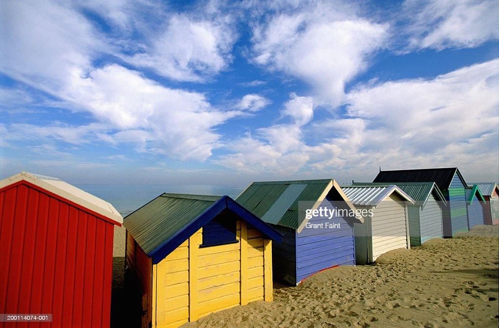 Australia, Melbourne, colorful beach huts : Stock Photo