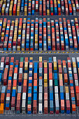 Australia, Melbourne, containers on dockside, aerial view