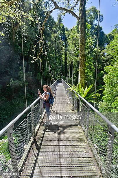 Australia, New South Wales, Dorrigo, girl standing on a suspension bridge in the rainforest of the Dorrigo National Park